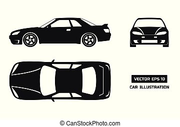 Black silhouette of the car on a white background. Top, front and side view