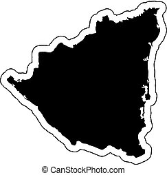 Black silhouette of the country Nicaragua with the contour line or frame. Effect of stickers, tag and label. Vector illustration.