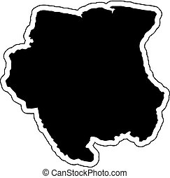 Black silhouette of the country Suriname with the contour line. Effect of stickers, tag and label. Vector illustration