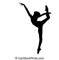 Black silhouette of the dancing ballerina on a white background