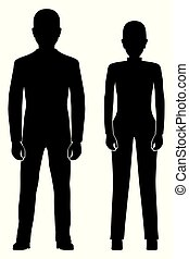 Black silhouette of the woman and man.