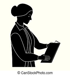 Black silhouette of the woman reading the book.
