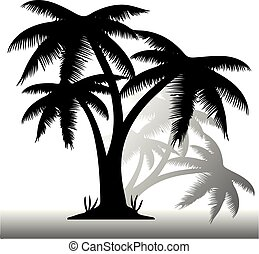 Black silhouette of three palms, with shadow on white background,