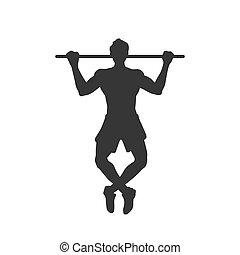 Black silhouette of tightening man. Horizontal bar. Outdoor ...