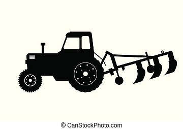 Black silhouette of tractor with plow. Farm machine. Side view. Isolated industrial drawing.