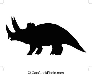 triceratops - black silhouette of triceratops