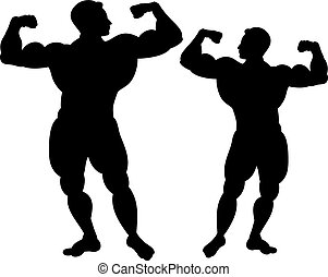 Black silhouette of two bodybuilders. On white background.