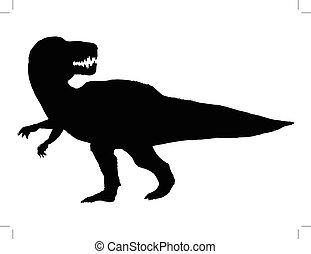 tyrannosaurus - black silhouette of tyrannosaurus