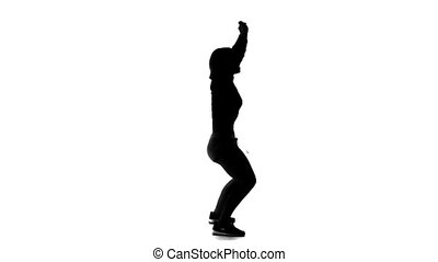 Black silhouette of vigorously dancing on a white background girl