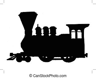 vintage steam train - black silhouette of vintage steam...