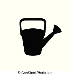 Black silhouette of watering can on white background.