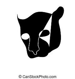black silhouette of wild cat
