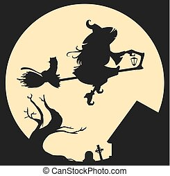 Black silhouette of witch flying on broom