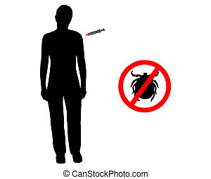 Black silhouette of woman gets an immunization against ticks