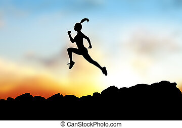 Black silhouette of woman running forward on the rocks.