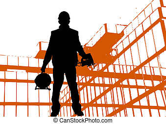 black silhouette of worker wearing hard hat outdoors near building
