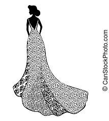 Girl in wedding dress on white background vector illustration.