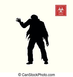 Black silhouette of zombie on white background