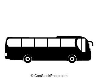 bus - Black silhouette on a bus. Vector illustration.