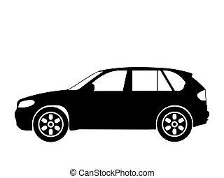 Black silhouette on a car. Vector illustration.