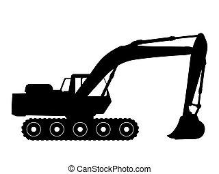 Black silhouette on a excavator. Vector illustration.