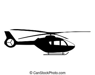 Black silhouette on a helicopter. Vector illustration.