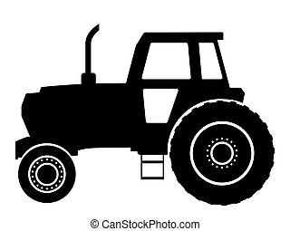Black silhouette on a tractor. Vector illustration.