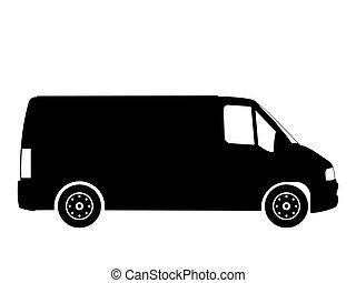 van - Black silhouette on a van. Vector illustration.