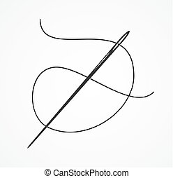 Black Silhouette or Contour Needle and Thread. Vector -...