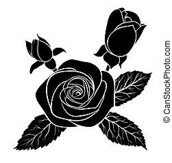 black silhouette outline rose