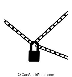 black silhouette padlock and metal chains icon