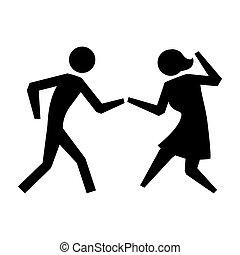 black silhouette pictogram couple dancing