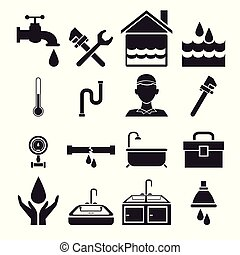 black silhouette plumbing icons set on white background