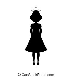 Black silhouette princess vector illustration