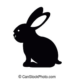 black silhouette rabbit with long ears