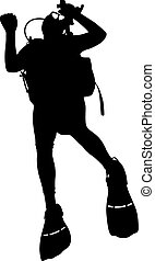 Black silhouette scuba divers. illustration.