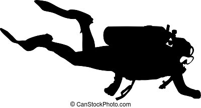 Black silhouette scuba divers on a white background
