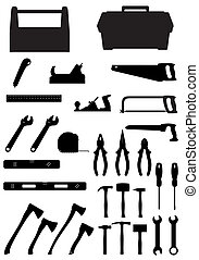 black silhouette set tools icons vector illustration