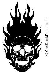 black silhouette Skull Vector Image Template with Flames
