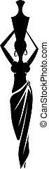 Black silhouette slim African girl. vector illustration