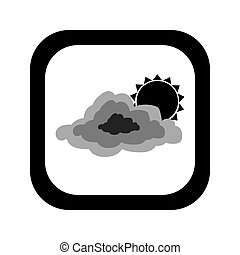 black silhouette square button with cloud and sun