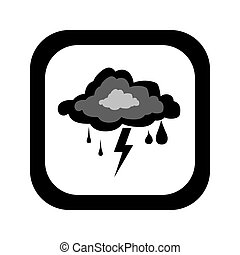 black silhouette square button with rain storm weather icon