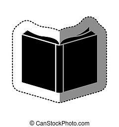 black , silhouette, sticker, met, boek