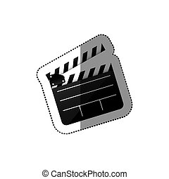 black silhouette sticker with clapperboard cinema