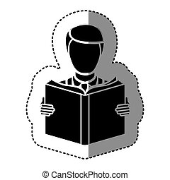 black silhouette sticker with man reading a book