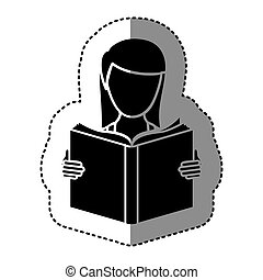 black silhouette sticker with woman reading a book
