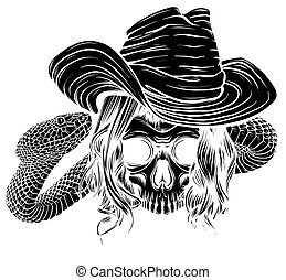 black silhouette Tattoo with skull and snake. Isolated vector illustration.