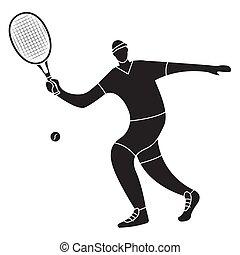 Black silhouette tennis player man hitting ball with racket.