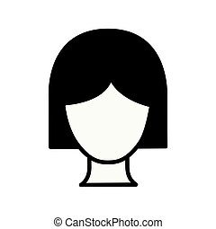 black silhouette thick contour of faceless woman with short hair