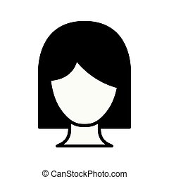 black silhouette thick contour of front view faceless woman with short hair